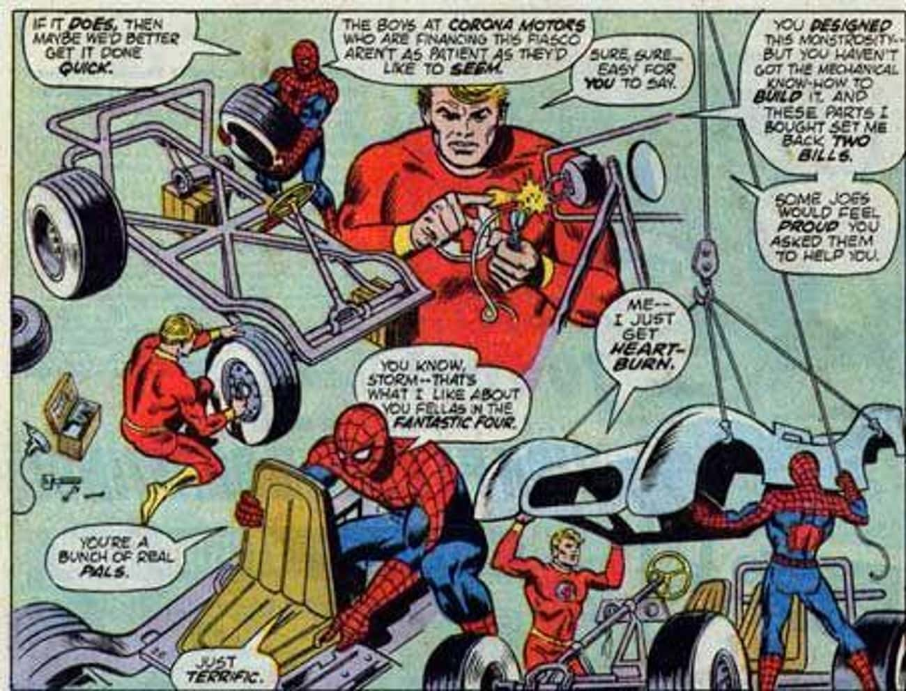 The Human Torch Helped Build I is listed (or ranked) 3 on the list The Ridiculous History Of The Spider-Mobile