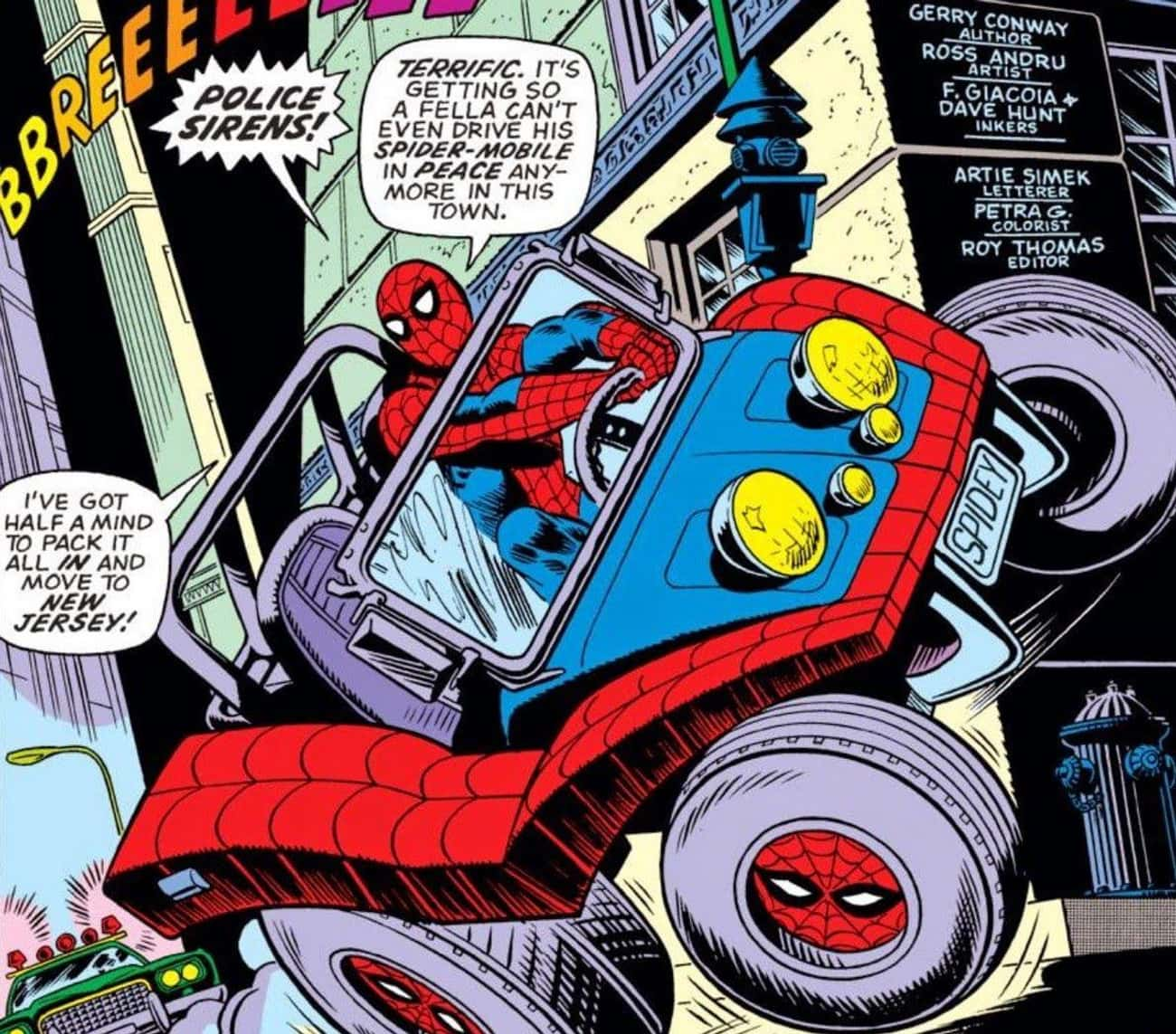 The Car Has Some Superpowers O is listed (or ranked) 4 on the list The Ridiculous History Of The Spider-Mobile