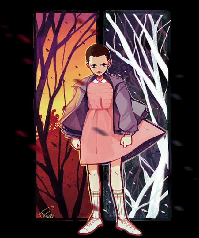 Upside-Down And Right-Side Up is listed (or ranked) 4 on the list Refreshingly Cool Fan Art Of Eleven From Stranger Things
