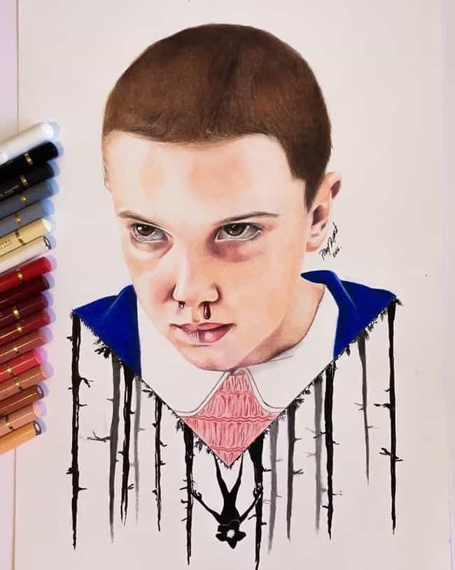 Pencil Crayon Pain is listed (or ranked) 1 on the list Refreshingly Cool Fan Art Of Eleven From Stranger Things