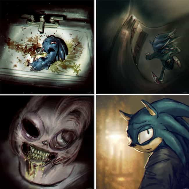 A Dark Sonic For A Dark World is listed (or ranked) 2 on the list Unspeakably Weird Sonic Fan Art That Will Make You Question Everything