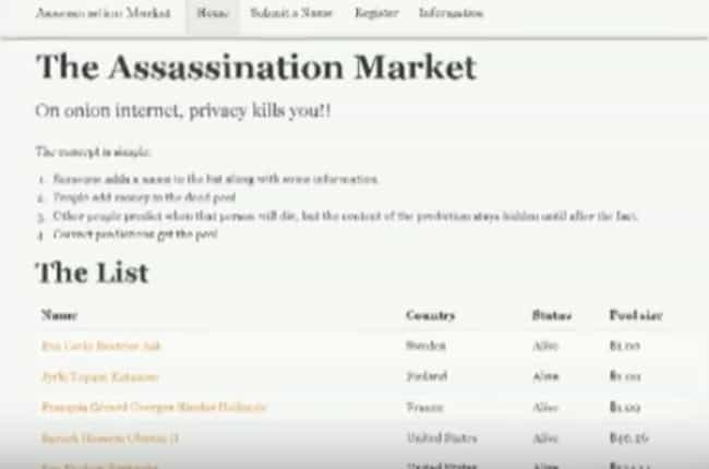 Assassination Market is listed (or ranked) 3 on the list The Most Disturbing Message Boards Hiding In The Darkest Corners Of The Internet