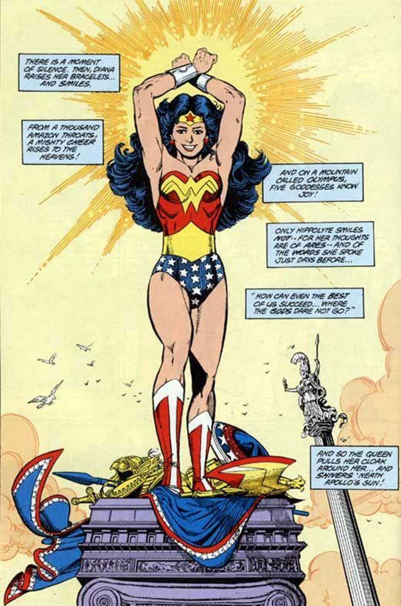 George Perez's Iconic Reboot F is listed (or ranked) 4 on the list Wonder Woman's Costumes From The Comics, Ranked By Practicality