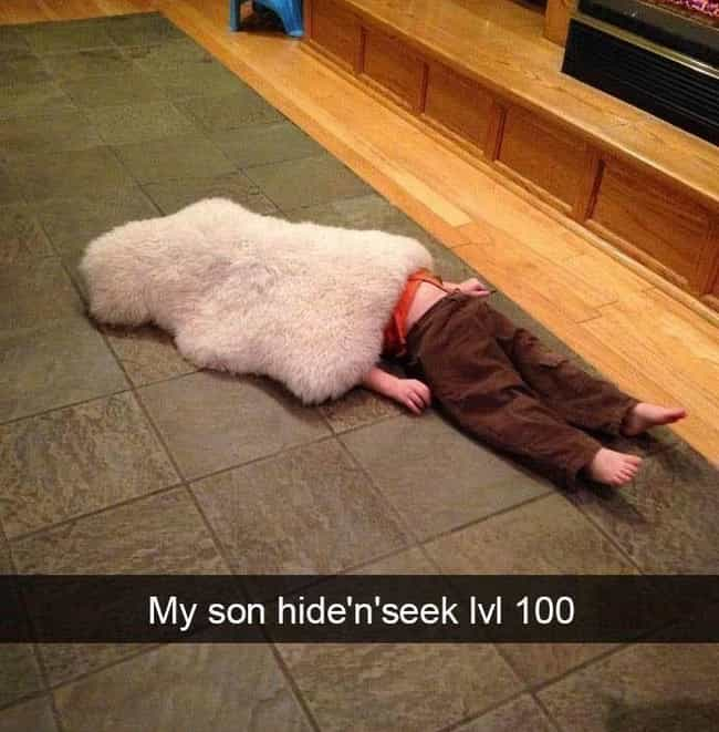 Best Hide N' Seek EVER ... is listed (or ranked) 1 on the list Hilarious Snapchats Of Wild Kids In Their Natural Habitat