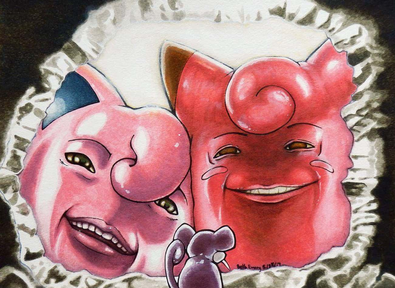 Titans Clefairy And Jigglypuff is listed (or ranked) 4 on the list This Artist Creates Horrifying Pokemon And Attack On Titan Crossovers