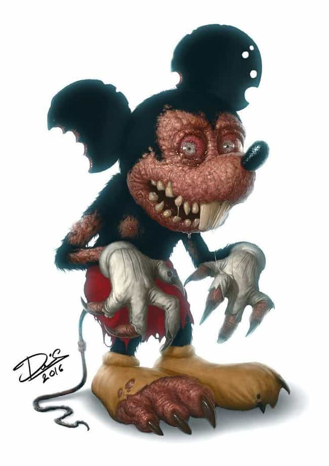 Mickey Mouse Goes Full M... is listed (or ranked) 1 on the list This Artist Turns Your Favorite Childhood Characters Into Horrible Monsters