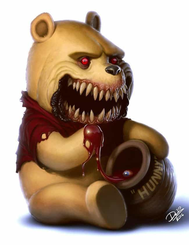 Winnie The Pooh Prefers ... is listed (or ranked) 2 on the list This Artist Turns Your Favorite Childhood Characters Into Horrible Monsters
