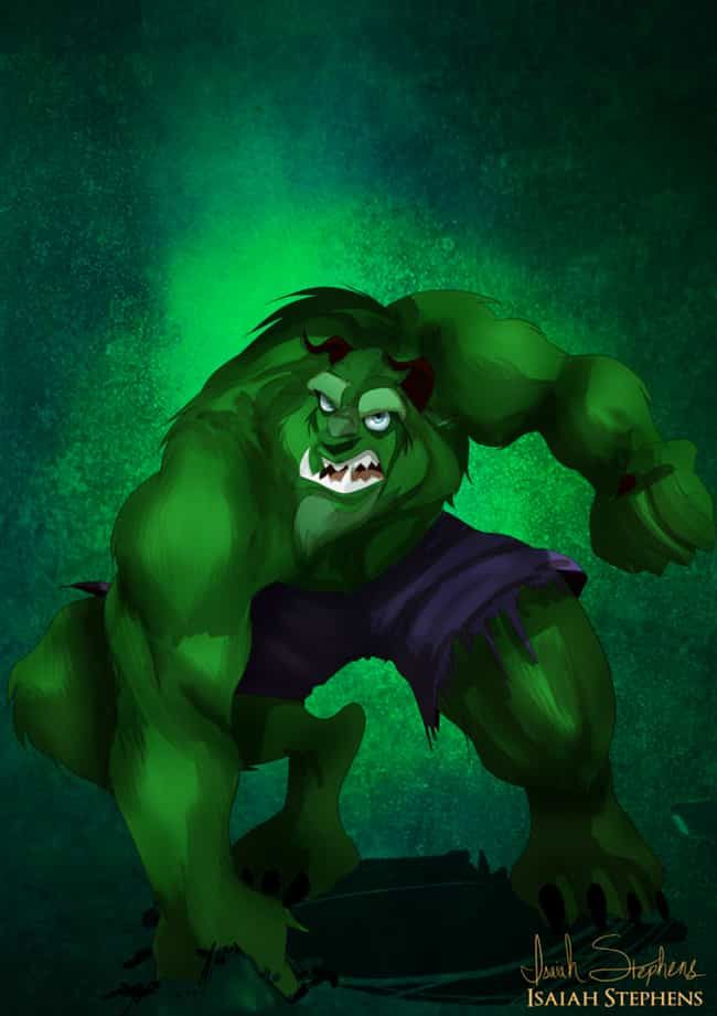 The Beast And The Hulk Blend T... is listed (or ranked) 4 on the list This Artist Drew Your Favorite Disney Characters All Dressed Up For Halloween
