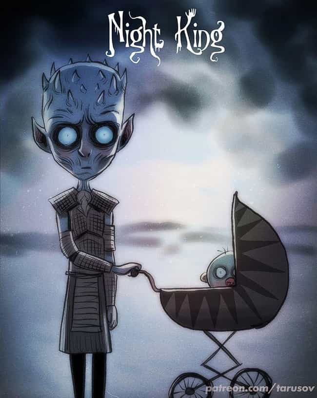 The Night King is listed (or ranked) 3 on the list This Artists Draws All Of Your Favorite Characters As Tim Burton Characters, And It's Super Spooky