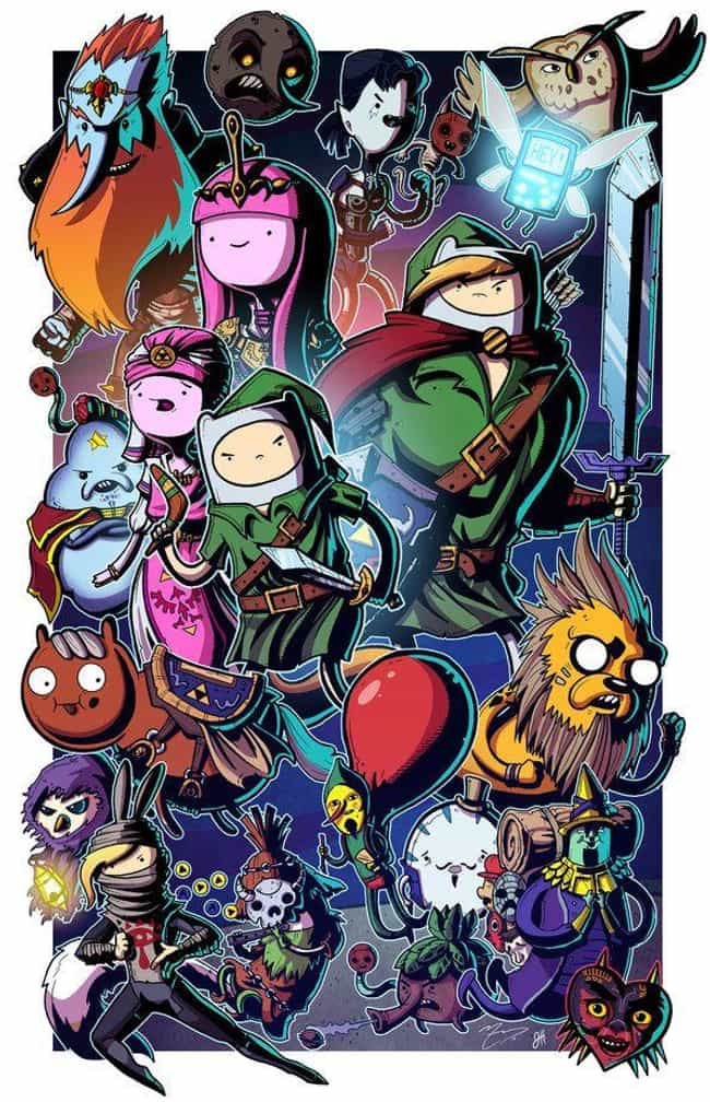 """""""Ocarina of Adventu... is listed (or ranked) 3 on the list These Artists Draw Spectacular Fan Art Of Your Favorite Fictional Characters In Adventure Time Style"""