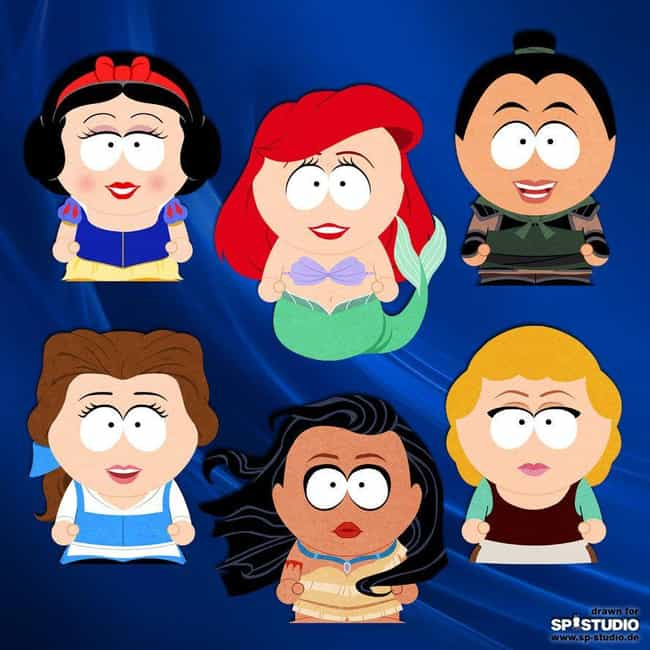 Disney Princesses Find A Whole... is listed (or ranked) 4 on the list These Artists Re-Imagined Your Favorite Pop Culture Figures As South Park Characters