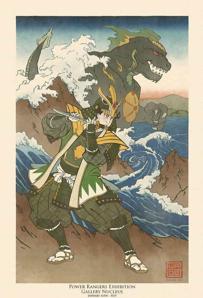 The Green Ranger – ... is listed (or ranked) 3 on the list These Artists Reimagine Your Favorite Characters In Gorgeous Traditional Japanese Style