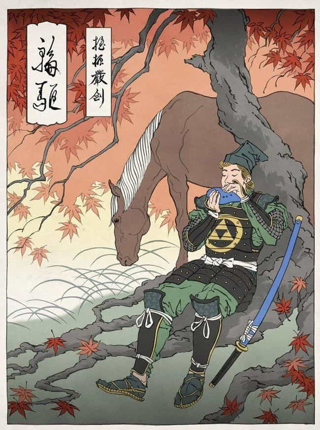 Link & Epona – ... is listed (or ranked) 4 on the list These Artists Reimagine Your Favorite Characters In Gorgeous Traditional Japanese Style