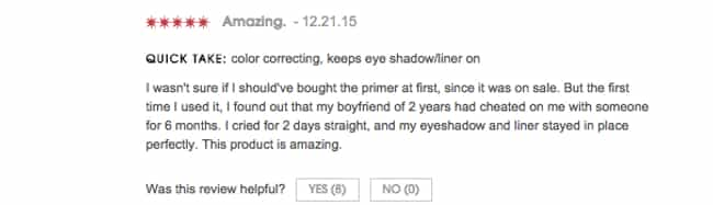 Even When The Future's B... is listed (or ranked) 2 on the list You Won't Be Able To Stop Laughing At These Hilarious Reviews From The Sephora Website