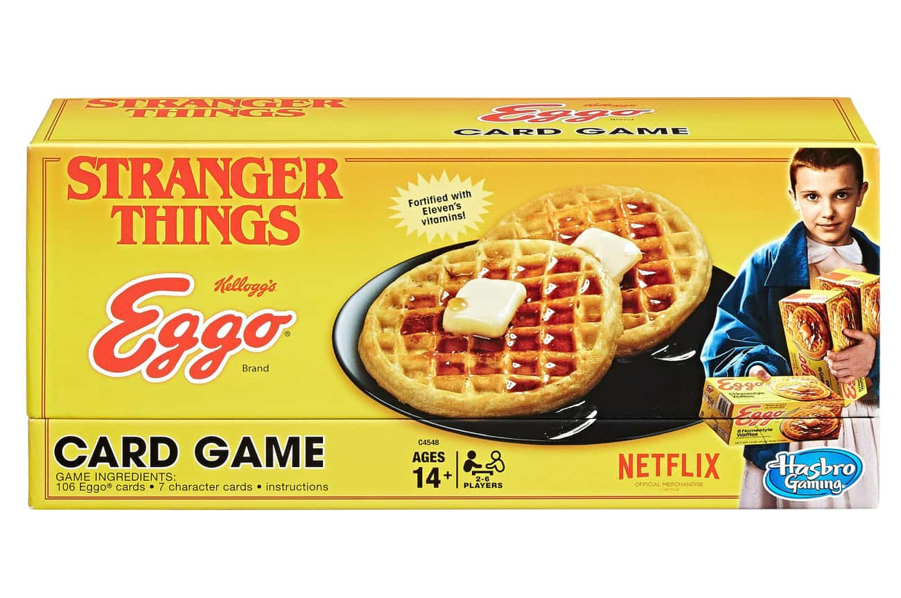 Eleven's Eggo Card Game is listed (or ranked) 2 on the list The Absolute Best Stranger Things Merch You Can Rep To Let Everyone Now How Awesome You Are