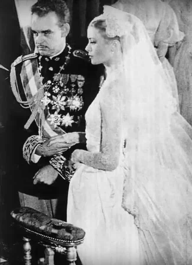 Grace Kelly And Prince Rainier... is listed (or ranked) 3 on the list 20 Rarely Seen Photos Of Old Hollywood Legends On Their Wedding Day
