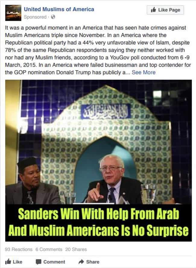 Sanders Has The Muslim And Ara... is listed (or ranked) 2 on the list Here Are Facebook And Instagram Ads That Russian Agents Used To Sway The American Election