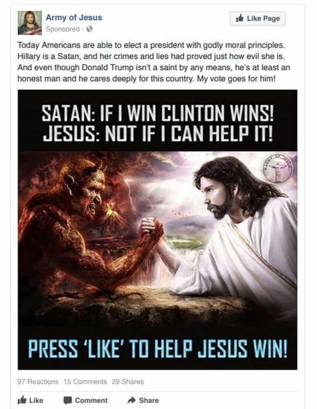 Help Jesus Defeat The Devil (A... is listed (or ranked) 3 on the list Here Are Facebook And Instagram Ads That Russian Agents Used To Sway The American Election