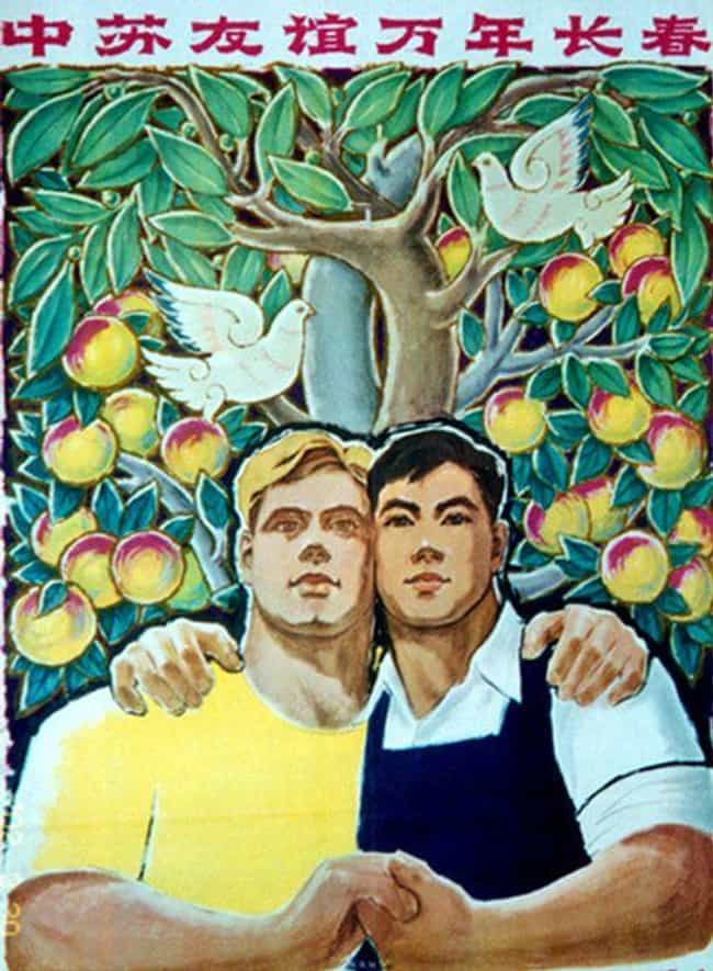 A Nice Day Outing To The Orcha... is listed (or ranked) 2 on the list These Chinese-Russian Communist Propaganda Posters Look Like Ads For Interracial Gay Marriage