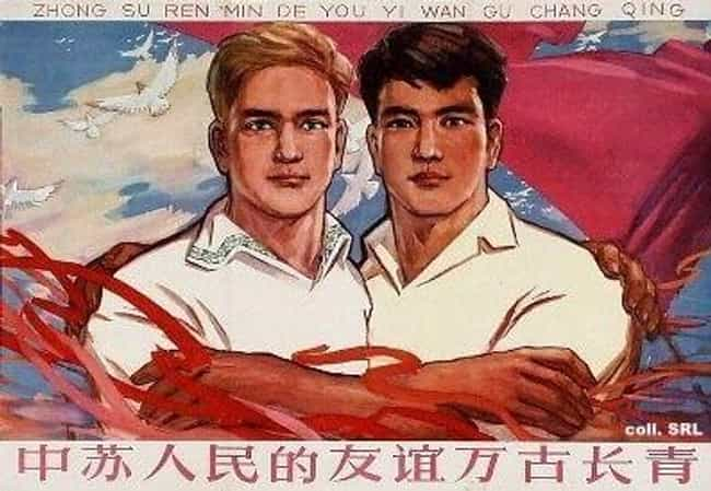 Communism Makes Me Feel Warm A... is listed (or ranked) 3 on the list These Chinese-Russian Communist Propaganda Posters Look Like Ads For Interracial Gay Marriage