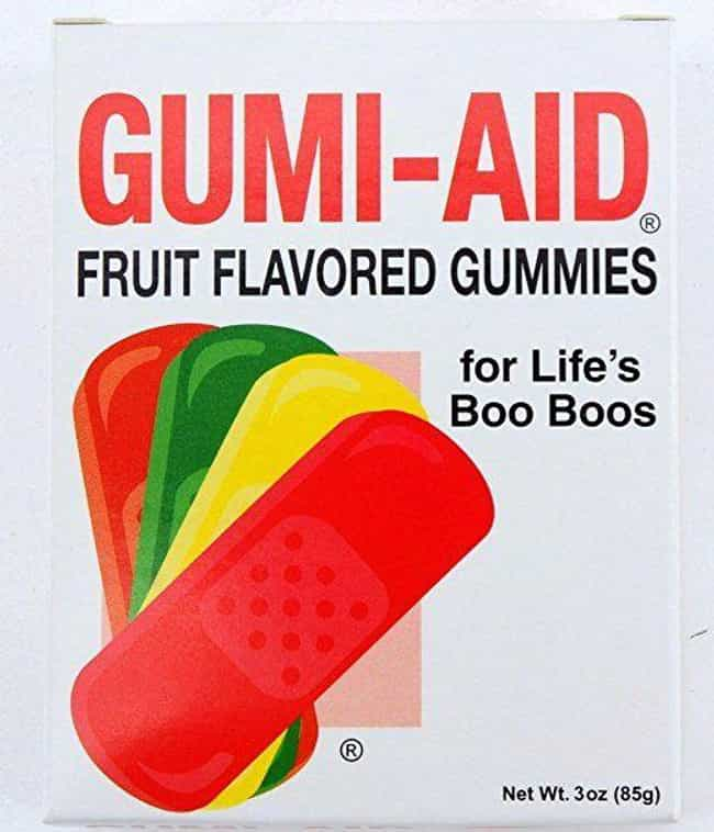 Gumi-Aid Band Aids is listed (or ranked) 3 on the list Bizarre Candy You Won't Be Able To Find At Your Local Gas Station