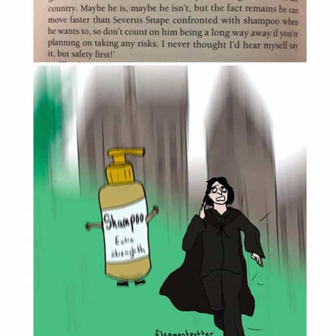 Snape Hates Shampoo is listed (or ranked) 2 on the list This Artist Captures How She Thinks Harry Potter Would Play Out IRL