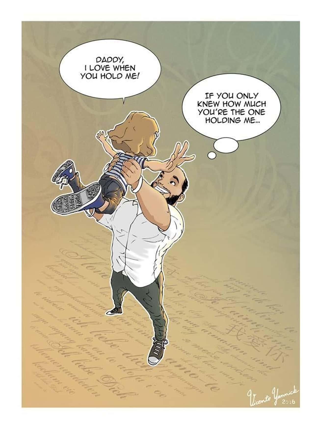 Who's Holding Who is listed (or ranked) 3 on the list Single Dad Illustrates Everyday Life Raising His Daughter In 10+ Emotional Comics