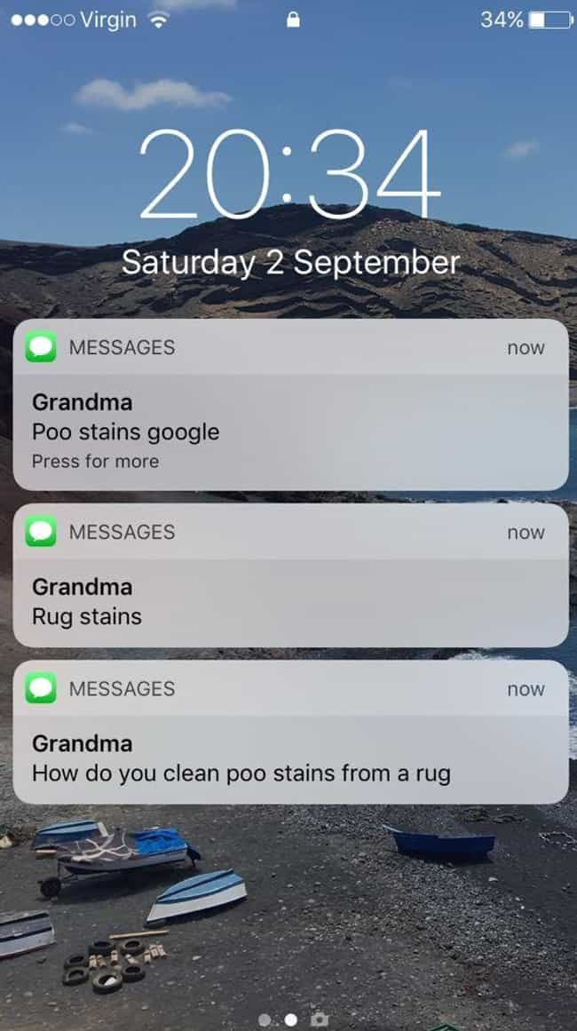 A Messy Situation is listed (or ranked) 2 on the list Hilarious Texts From Grandparents That Made Us Die Laughing