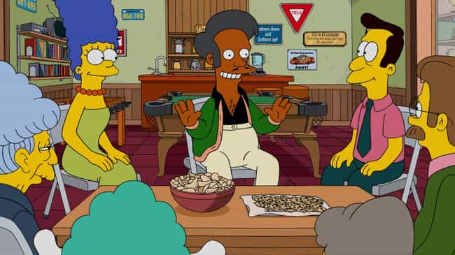 Perhaps Apu's Character Ca... is listed (or ranked) 1 on the list 12 Reasons Why Apu Should Be Taken Off The Simpsons