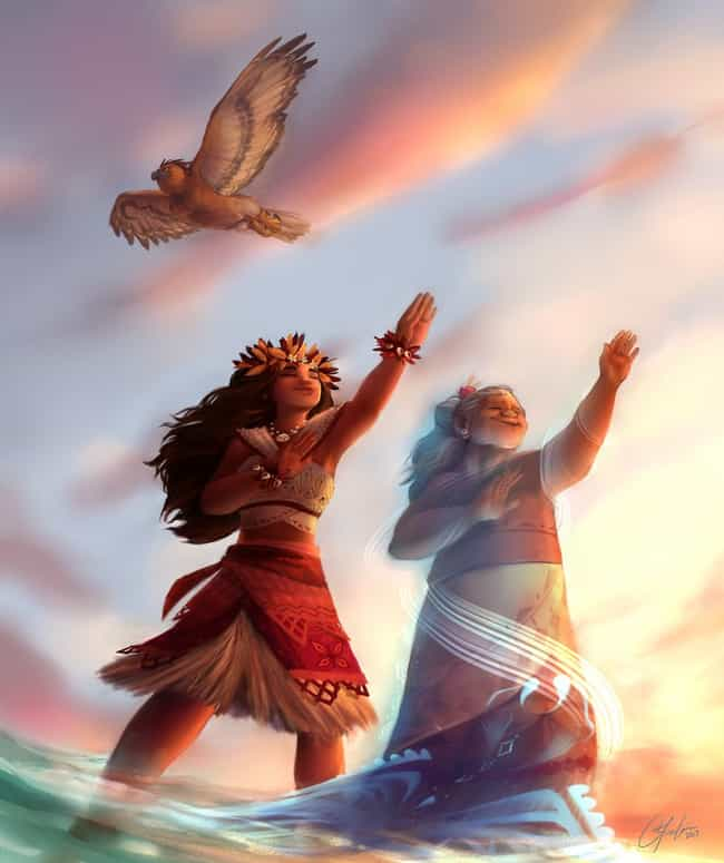 "Moana's Fitting Farewell... is listed (or ranked) 2 on the list 10+ Pieces Of Unbelievably Gorgeous Moana Fan Art, Because What Can We Say Except, ""You're Welcome"""