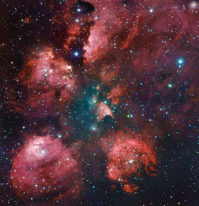 """Cat's Paw Nebula is listed (or ranked) 4 on the list Incredible Images Of Emission Nebulae, The """"Rainbows"""" Of Outer Space"""