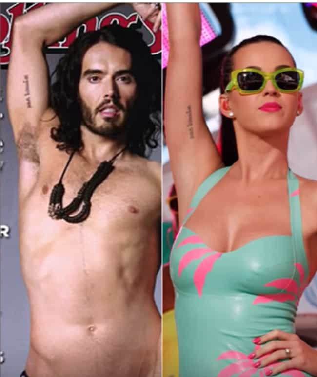 Katy Perry and Russell B... is listed (or ranked) 7 on the list Famous Couples Who Have Matching Tattoos