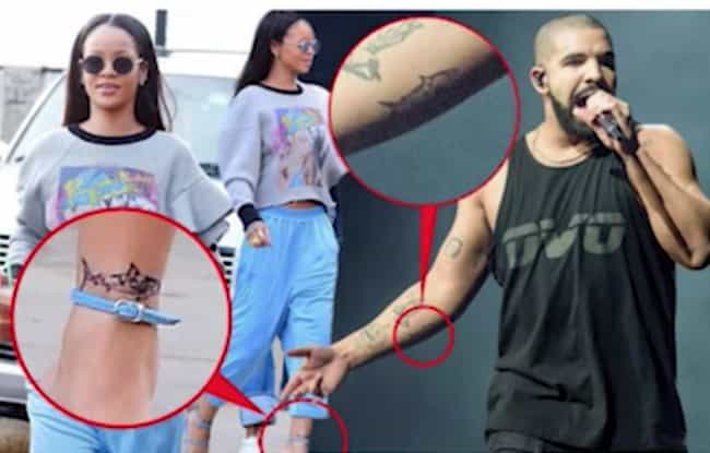 Rihanna and Drake is listed (or ranked) 5 on the list Famous Couples Who Have Matching Tattoos