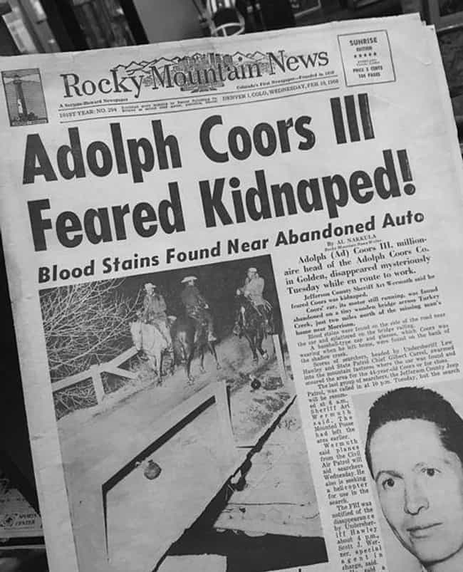 On February 9, 1960, The... is listed (or ranked) 1 on the list The Murder Of Beer Mogul Adolph Coors III Launched The FBI's Biggest Manhunt In Decades