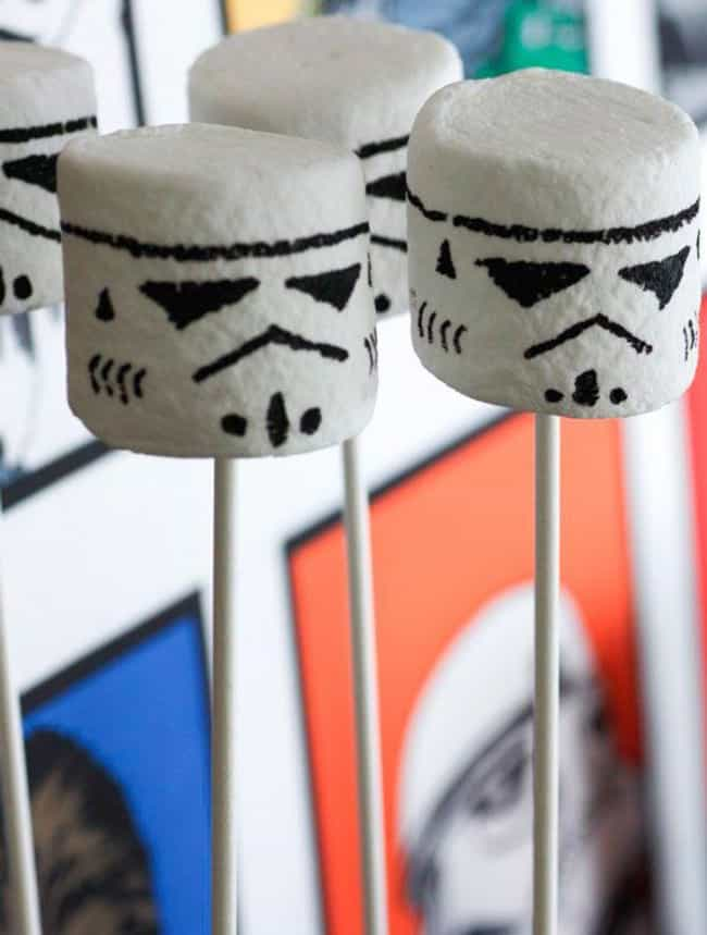 Storm Trooper Marshmallow Pops is listed (or ranked) 4 on the list Star Wars-Themed Snacks To Satisfy Your Hunger And Make You One With The Force