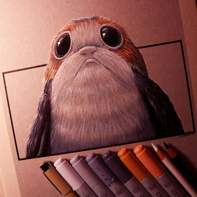 Detailed Portrait is listed (or ranked) 2 on the list Aporgable Fan Art That Will Make You Wish Porgs Were Real