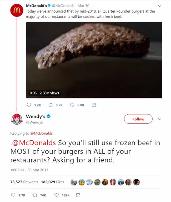 Calling Out Competitors ... is listed (or ranked) 3 on the list 21 Savage Tweets That Prove Wendy's Twitter Is The Best Twitter