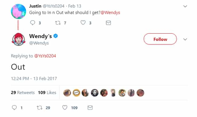 They Out Here is listed (or ranked) 4 on the list 20 Savage Tweets That Prove Wendy's Twitter Is The Best Twitter
