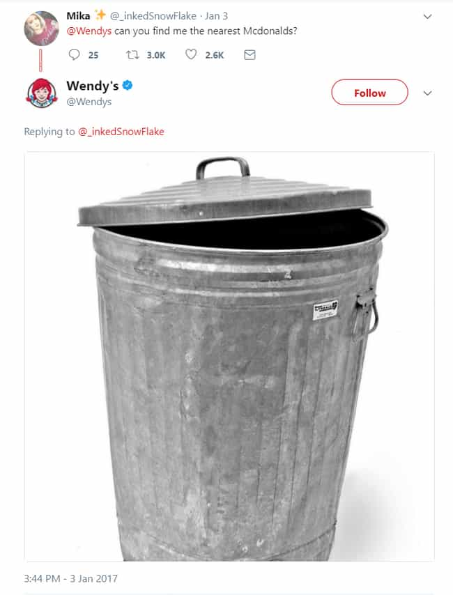 Taking Out The Trash is listed (or ranked) 2 on the list 20 Savage Tweets That Prove Wendy's Twitter Is The Best Twitter
