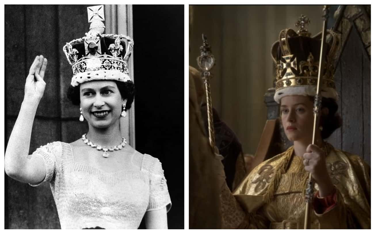 "Queen Elizabeth II's Coron is listed (or ranked) 4 on the list Here Are All The Real-Life Historical Figures Placed Side-By-Side With Their Scenes From ""The Crown"""