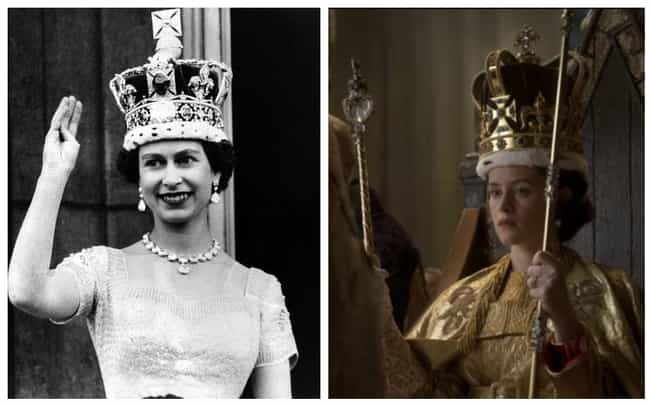 """Queen Elizabeth II's Cor... is listed (or ranked) 4 on the list Here Are All The Real-Life Historical Figures Placed Side-By-Side With Their Scenes From """"The Crown"""""""