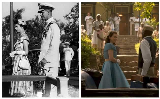 """Elizabeth On Tour Of The... is listed (or ranked) 2 on the list Here Are All The Real-Life Historical Figures Placed Side-By-Side With Their Scenes From """"The Crown"""""""