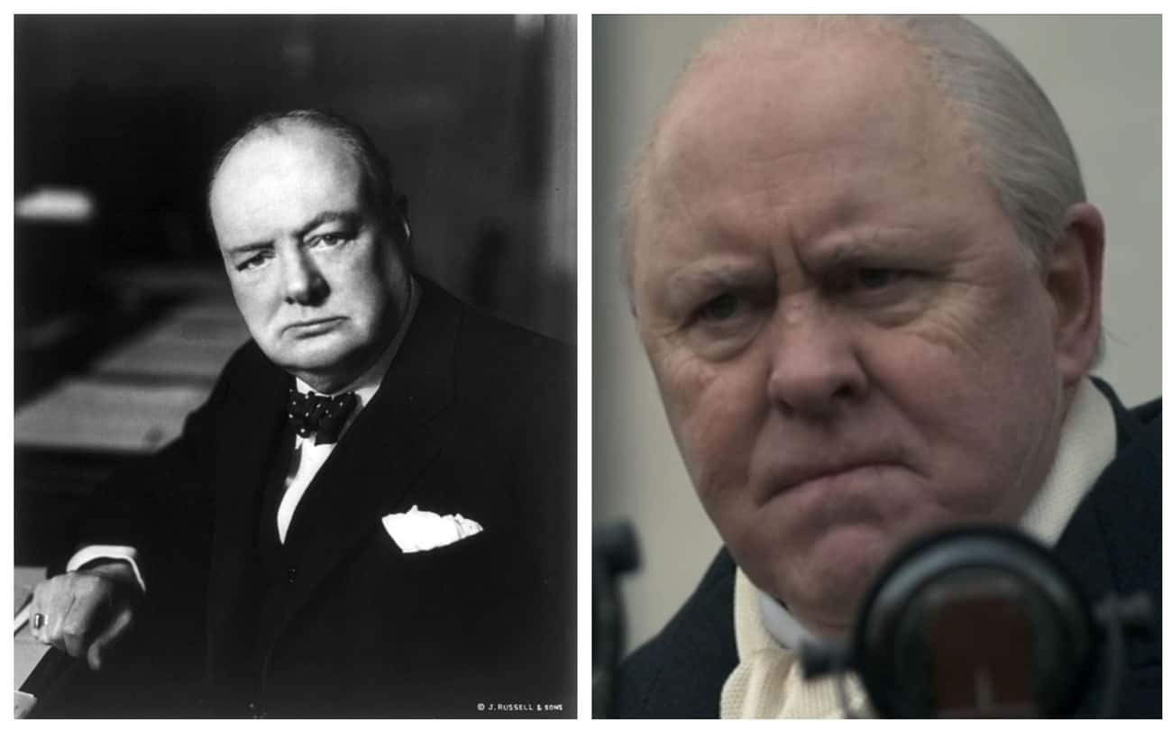 "Winston Churchill, Prime Minis is listed (or ranked) 3 on the list Here Are All The Real-Life Historical Figures Placed Side-By-Side With Their Scenes From ""The Crown"""