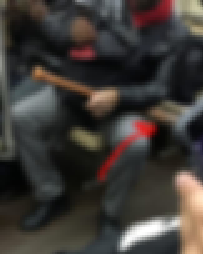 Cosplay Or Weaponry? The Line ... is listed (or ranked) 2 on the list City Subway Creatures Documents The Metro's Weirdest Riders, And It's Both Disturbing And Glorious