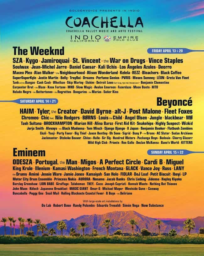 Coachella 2018 is listed (or ranked) 1 on the list The Best Coachella Year Ever