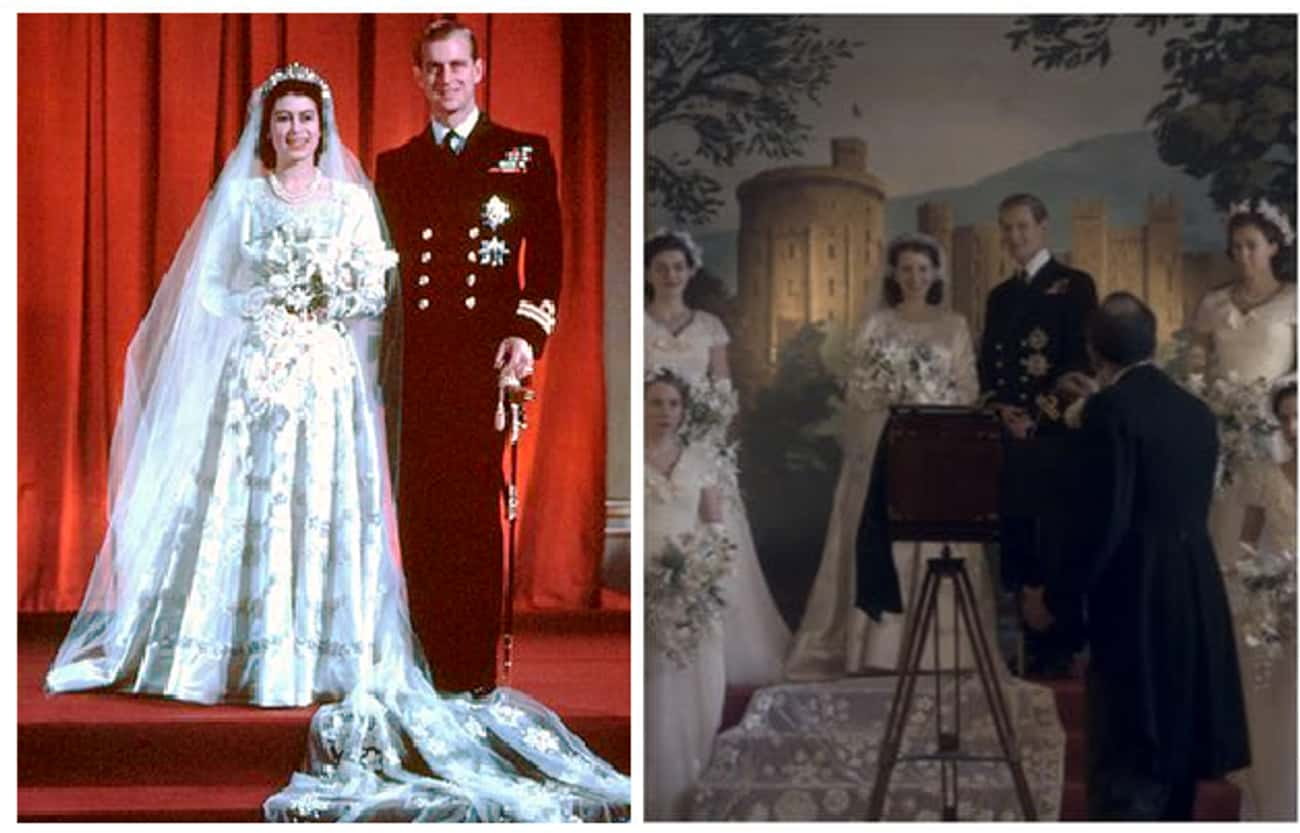 "The Wedding Of Prince Philip M is listed (or ranked) 1 on the list Here Are All The Real-Life Historical Figures Placed Side-By-Side With Their Scenes From ""The Crown"""