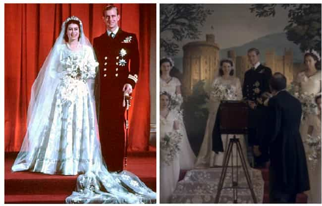 """The Wedding Of Prince Ph... is listed (or ranked) 1 on the list Here Are All The Real-Life Historical Figures Placed Side-By-Side With Their Scenes From """"The Crown"""""""