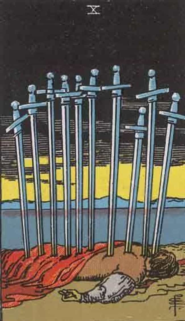 The 10 Of Swords is listed (or ranked) 1 on the list When Your Tarot Reader Draws These Cards, They Know It's Bad News