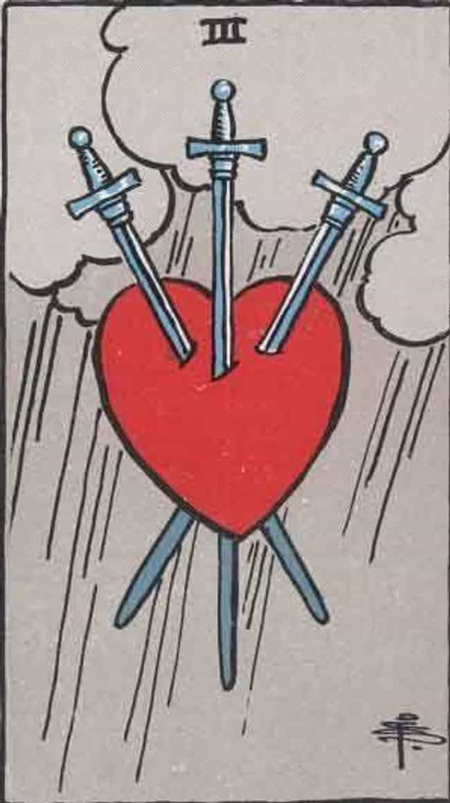 The 3 Of Swords is listed (or ranked) 3 on the list When Your Tarot Reader Draws These Cards, They Know It's Bad News