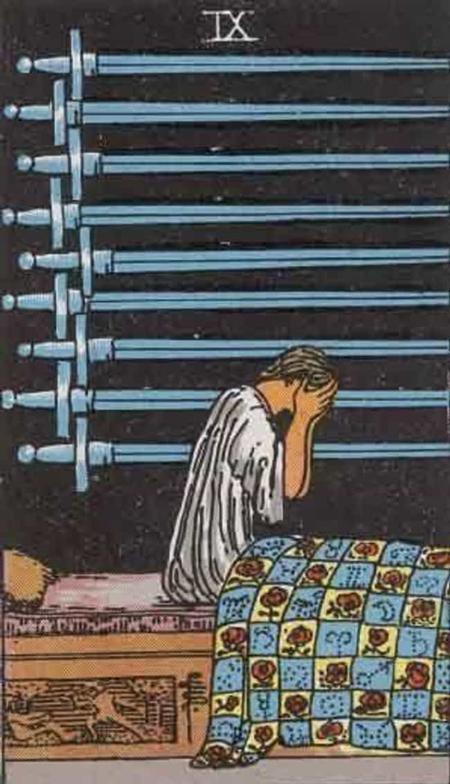 The 9 Of Swords is listed (or ranked) 4 on the list When Your Tarot Reader Draws These Cards, They Know It's Bad News